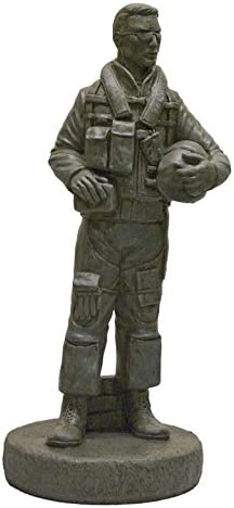 Solid Rock Stoneworks Decorative Stone Airforce Pilot Statue 24in Tall Cypress Color