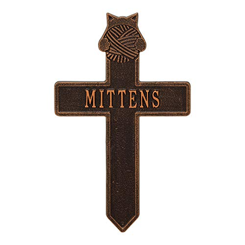 Whitehall Cat with Yarn Personalized Pet Memorial Cross Yard Sign - Remembrance Grave Marker and Garden Stake - Antique Copper