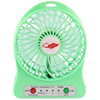 Happy-top 4-inch Vanes 3 Speeds Mini Hand Held Portable USB Fan with 18650 Rechargeable Battery and USB Cable (Green)