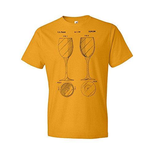 Connoisseur Gold Pinot - Stemmed Wine Glass T-Shirt, Connoisseur, Bartender, Merlot, Shiraz, Pinot, Noir, Grigio, Sauvignon, Cabernet, Gift Gold (2XL)