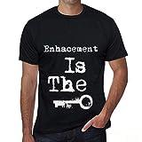 Men's Tee Shirt Graphic T Shirt Enhacement is The Key Deep Black White