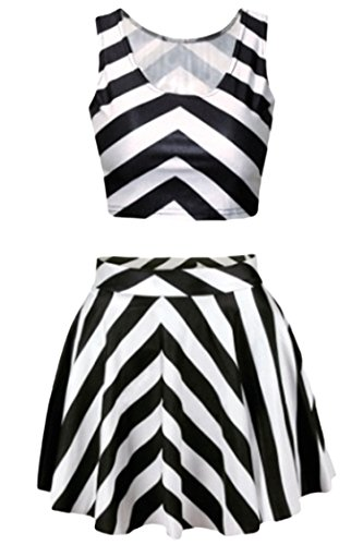 Pink Queen Black and White Stripes Two Piece Digital Skater Skirt and Tank Tops for Women]()
