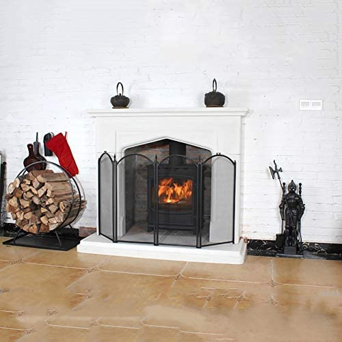 暖炉スクリーン ストーブ、グリルカバー、暖炉のための4パネル暖炉スクリーン、火災画面スパークフレイムガード、湾曲したトップ4パネル折りたたみデザイン、