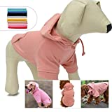 Pet Clothing Clothes Dog Coat Hoodies Winter Autumn Sweatshirt for Small Middle Large Size Dogs 11 Colors 100% Cotton 2018 New (L, Lotus Pink)
