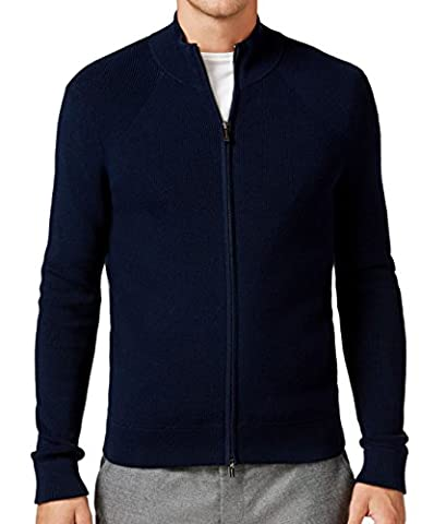 Michael Kors Mens Ribbed Knit Full Zip Sweater Blue 2XL - Michael Kors Zip Cardigan