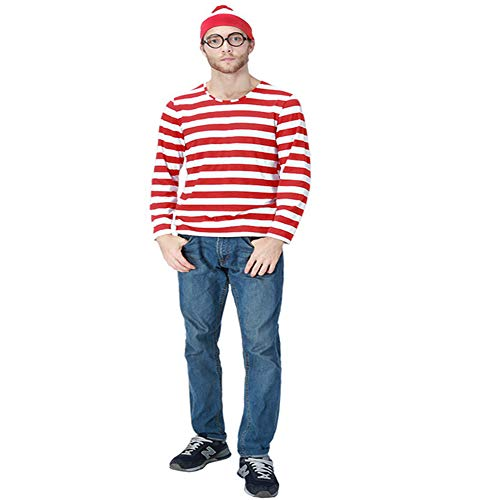 CQI Red and White Stripes Costume,Where's Waldo Costumes,Halloween Cosplay T-Shirt -