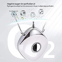 Zghzsc Mini purificador de Aire, purificadores de Aire portátiles Collar usable Retire Segunda Mano de Humo USB de Carga de Iones Negativos generador de Limpieza Virus de los gérmenes, Blanca: Amazon.es: Hogar