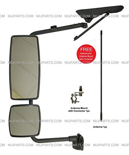 Door Mirror with Arm Black - Driver Side (Fit: International 4300 4400 7400 7600 8500 8600 - Door Arm Mirror