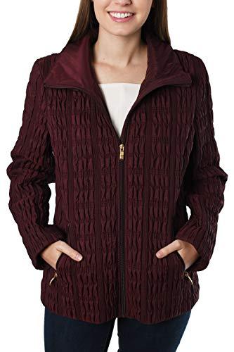 Anne Klein Women's Zip Front Quilted Jacket with Zipper Pockets, Wine ()