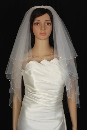 Bridal Veil White 2 Tiers Elbow Length Scallop Edge With Beads and Rhinestones