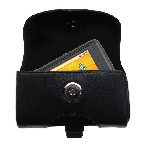 Designer Gomadic Black Leather Nextar T30 Belt Carrying Case - Includes Optional Belt Loop and Removable Clip