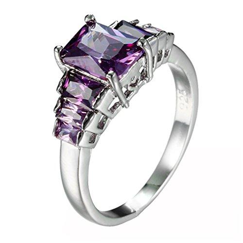 BOLY Stainless Steel Princess Cut Purple Crystal Rhinestone Zircon Amethyst Engagement Promise Ring for Women Size 6 - Princess Cut Rhinestone