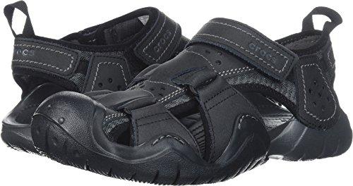 Black Croc Leather - Crocs Men's Swiftwater Leather Fisherman M Flat Sandal, Black/Graphite, 12 M US