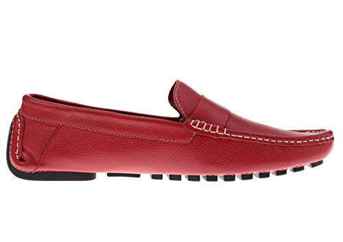 Natazzi Mens Air Grant Canoe Leather Shoes Original Slip-On Driving Loafer Red wgXHMON