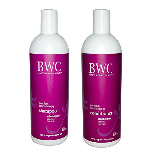 Beauty Without Cruelty Volume Plus Shampoo and Beauty Without Cruelty Volume Plus Conditioner With 100% Pure Premium Oshadhi Essential Oils, 16 fl oz (473 ml) each
