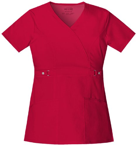 Luxe by Cherokee Women's Mock Wrap with Self Belt At Empire Waist Solid Scrub Top Medium Pink Violet ()