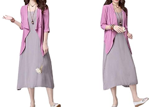 4 Piece Women two line Round Coolred A Neck Dress Suit Color Solid fqxBnPS