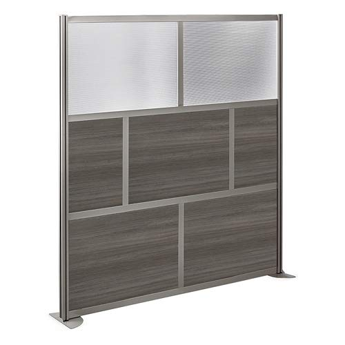 at Work 72'' W x 76'' H Room Divider Gray Laminate/Plexiglas Inserts/Aluminum and Steel Frame by NBF Signature Series (Image #2)