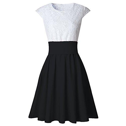 iZHH Womens Lace Party Cocktail Mini Dress Ladies Short Sleeve Skater Dresses(B-Black,XL) -