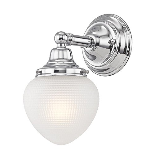 Prismatic Glass Schoolhouse Sconce Chrome 1 Light 5 Inch Width