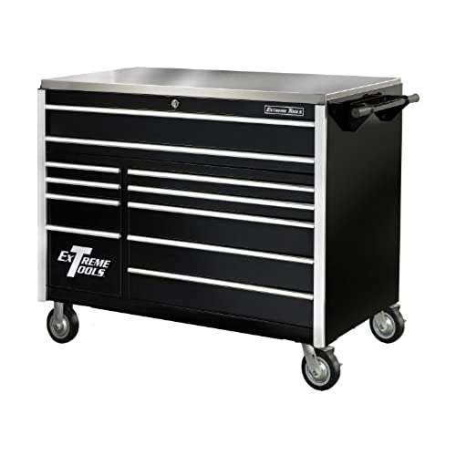 Extreme Tools EX5511RCBK 11 Drawer Roller Cabinet With Security Drawer And  Ball Bearing Slides, 55 Inch, Black High Gloss Powder Coat
