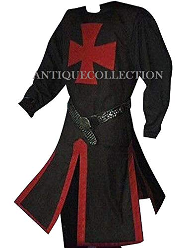 Medieval Crusader Templar Knight Warrior Tunic Robe Halloween Costume - XX Large (Black)