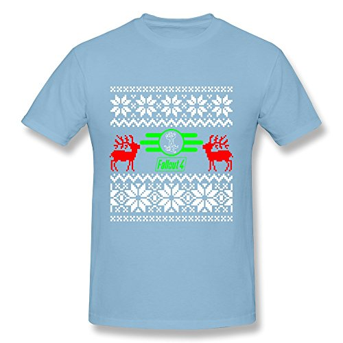 Men's Fall Out 4 Game Christmas Logo Tshirt Trendy Size S SkyBlue