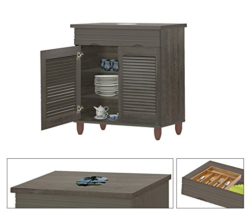 NEW! Kitchen Buffet Hutch with Drawer in an Espresso Finish Featuring the Choice of Your Favorite Novelty Themed Logo Decal-KITCHENWARE NOT INCLUDED (Hawaii Cartoon) by The Furniture Cove