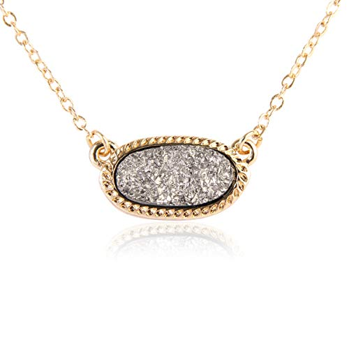 (RIAH FASHION Acrylic Faux Druzy Jewel Stone Hexagon Oval Pendant Necklace - Delicate Chain/Sparkly Crystal Beaded Strand (Oval Chain - Hematite))