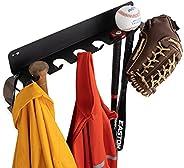 Wallniture Slugger Baseball and Bat Rack, Baseball Bat Holder Metal Wall Shelf for Sports Memorabilia 6 Sectio
