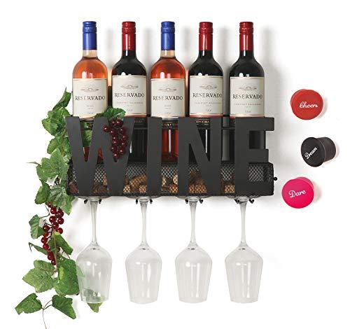 (SODUKU Wall Mounted Metal Wine Rack 4 Long Stem Glass Holder & Wine Cork Storage Wine)
