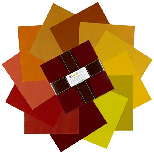 Robert Kaufman Kaufman 10'' Half Stack Squares Kona Cotton Autumn Hues Multi (Autumn Hues)
