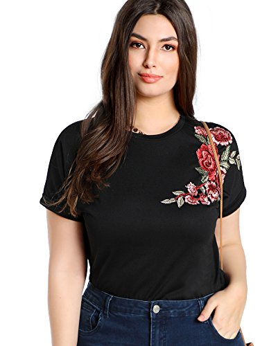 Verdusa Women's Short Sleeve Embroidered Rose Casual Floral T-Shirt Black ()