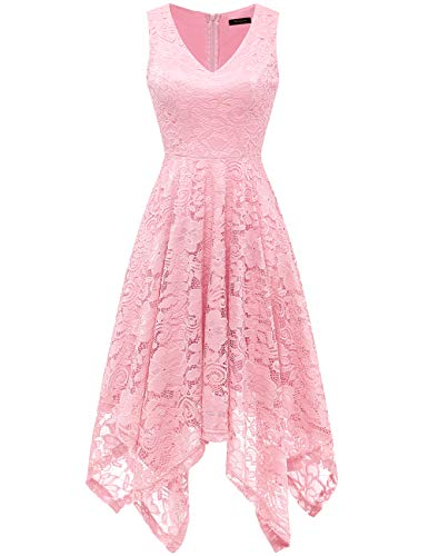 Meetjen Women's Vintage Floral Lace Dress Handkerchief Hem Asymmetrical Cocktail Formal Swing Dress Pink L