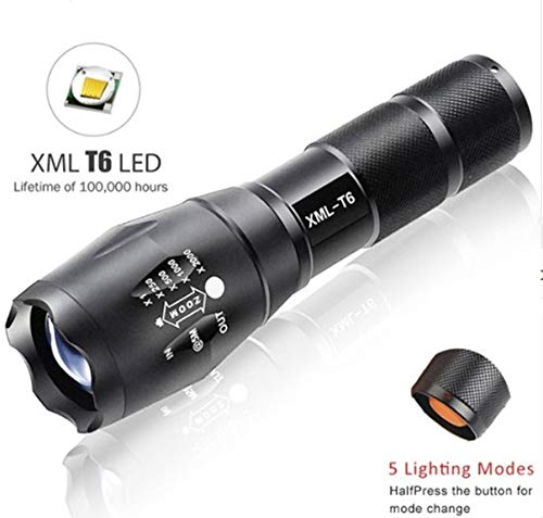 1 Pack 7200 Lumen 5 Mode XM-L T6 LED Flashlight Waterproof T
