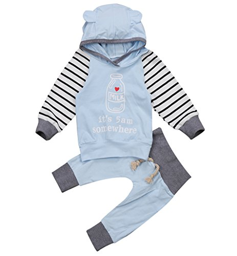 - Unisex Baby Clothes Outfit Birthday Outwear Hood Tops Casual Stripes Pants Leggings Set (0-6Months, Sky Blue)
