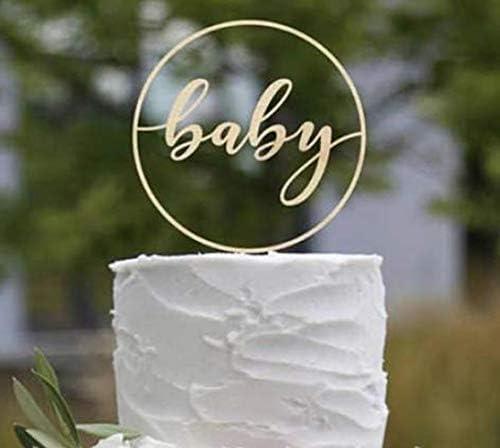 Decoraci/ón para tarta de beb/é de acr/ílico con texto en ingl/és /«Oh Baby/»