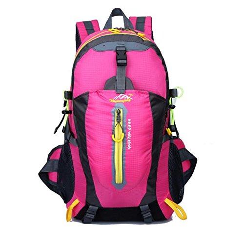 IEasⓄn Outdoor Sport Backpack,Men Women Hiking Camping Waterproof Travel Luggage Backpack Bag (Hot Pink)