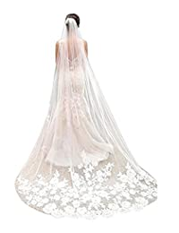 AK Beauty 1T White Ivory Lace Edge Cathedral Length Wedding Bridal Veil