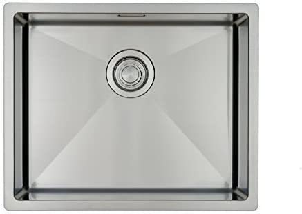 Kitchen Sink Mizzo Design 5040- One/Single Bowl Square Stainless Steel Kitchen Sink- for Both undermount and flushmount Installation - Satin Finish - R 10mm