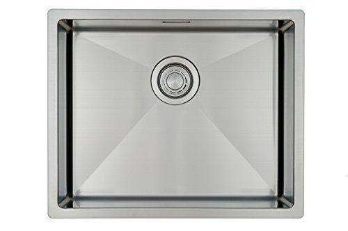 Évier/ lavabo Mizzo Linea 50-40 - évier de cuisine acier inoxydable - 1 bac - lavabo de cuisine carré - montage à fleur ou sous plan - inox brossé Mizzo Design ®
