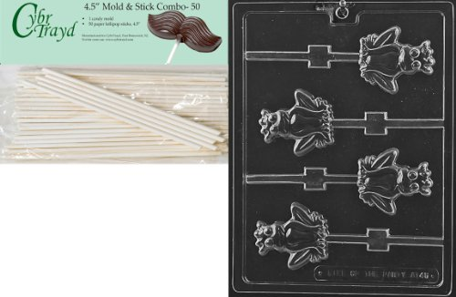 Cybrtrayd 45St50-A145 Frog Prince Lolly Animal Chocolate Candy Mold with 50 4.5-Inch Lollipop Sticks