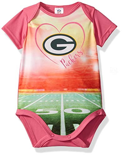 NFL Green Bay Packers Baby-Girls Short-Sleeve Bodysuit, Pink, 3-6 Months