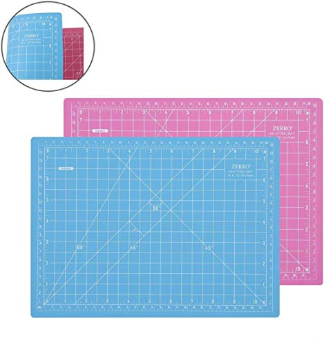 ZERRO Self Healing Cutting Double-Sided Rotary Mat Non-Slip 5-Ply Thick 9 x 12 Pink/Blue(A4)