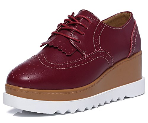 DADAWEN Women's Fashion Tassels Square-Toe Lace-up Platform Wedge Oxford Shoes Red US Size 6 (Fashion Square)