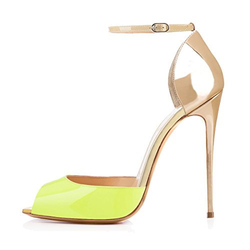 High Große Größe Nieten mit Gold Heels Sandalen Sexy Knöchelriemchen uBeauty Stilettos Toe Pumps Schuhe Open Grün Damen qAY7xOw