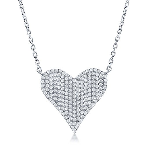 - Sterling Silver High Polish Micro Pave Cubic Zirconia Heart 16+2