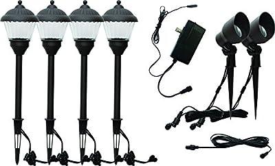 HunnyKome Solar Lighting PWN-LV1: 7 Piece LED Low Voltage Starter Kit (4 x 100 Pathway, 2 x 150 Lumen Spotlight, 1 x 35w Transformer), Black