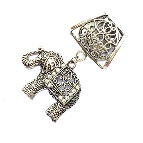 Antique Vintage DIY Scarf Charm Accessories with Sliders Hollowed Floral Crystal Elephant Pendant