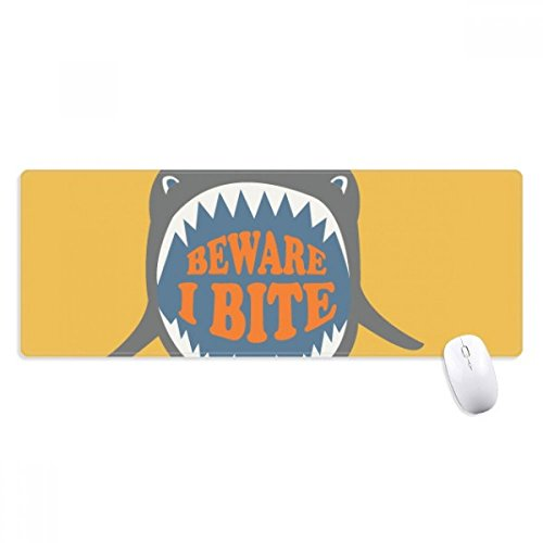 Beware I Bite Shark Illustrate Non-Slip Mousepad Large Extended Game Office titched Edges Computer Mat Gift